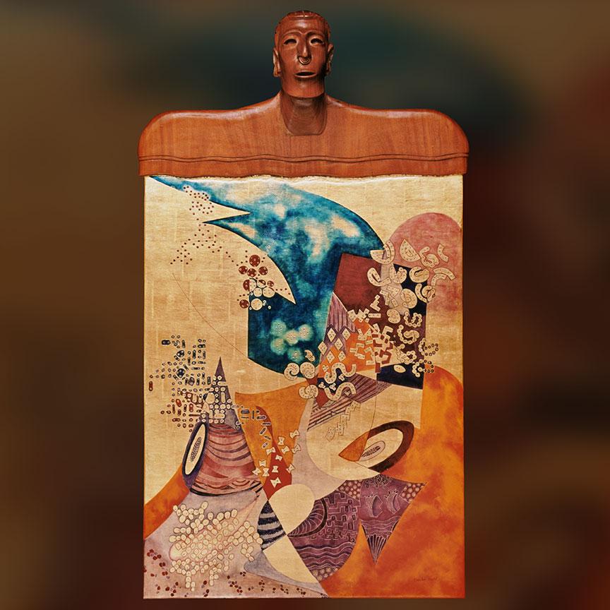 'Ancestral Philosophy' 2003 Wood sculpture, 23K gold leaf, oil, canvas & wood panel