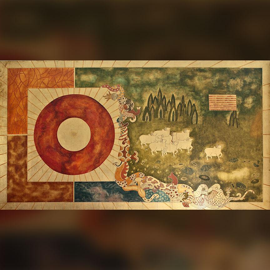 'Divine Path' 2002 Oil, metal leaf, canvas & wood panel